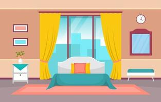 interno accogliente camera da letto dell'hotel con letto matrimoniale e finestre vettore
