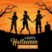 banner di halloween felice con sagome di zombie nel cimitero