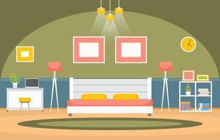 interno accogliente camera da letto con letto matrimoniale e mensole vettore