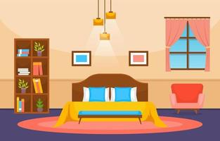 interno accogliente camera da letto con letto matrimoniale e lampade vettore