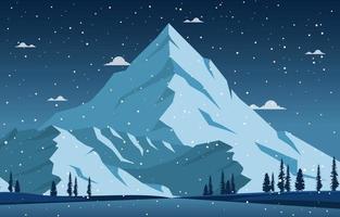 paesaggio invernale innevato con alberi, montagne e nevicate vettore