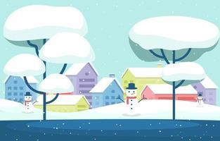 accogliente scena cittadina invernale innevata con alberi, case e pupazzi di neve vettore
