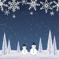 cartolina d'auguri di stagione invernale con paesaggio innevato, pupazzi di neve e fiocchi di neve vettore