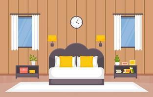 interno accogliente camera da letto con letto matrimoniale, lampade e mensole vettore