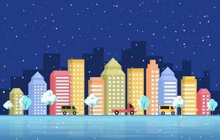 skyline della città innevata in inverno vettore