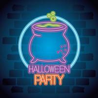 insegna al neon del partito di Halloween con la strega del calderone