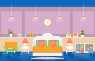 interno accogliente camera da letto con letto matrimoniale, lampade e scaffali vettore