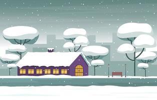 accogliente scena nevosa della città invernale con alberi e casa vettore