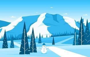 paesaggio innevato della natura invernale con alberi, montagne e pupazzo di neve vettore