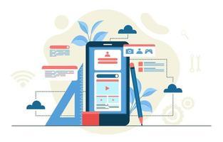 illustrazione di design piatto processo di sviluppo app mobile smartphone vettore