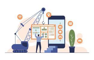 programmatore con app mobile per la costruzione di gru sull'illustrazione piatta dello smartphone vettore