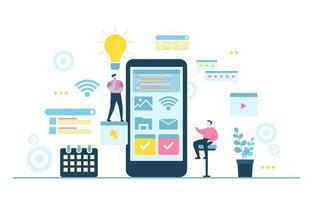 programmatori che sviluppano illustrazione design piatto di app mobile vettore