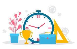 illustrazione degli elementi di gestione del tempo e strategia aziendale vettore