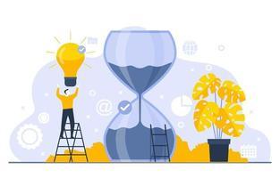 uomini d'affari che lavorano sulla gestione del tempo e sull'illustrazione della strategia aziendale vettore