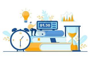 imprenditore pensando alla gestione del tempo e illustrazione strategia aziendale vettore
