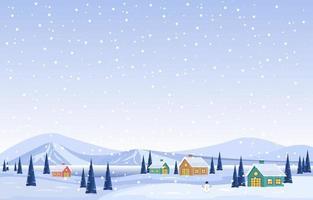 paesaggio invernale innevato con alberi, montagne e cottage vettore