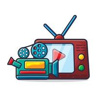 fotocamera e televisione per guardare l'illustrazione del concetto di film vettore