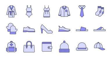 icone di abbigliamento contorno pieno vettore