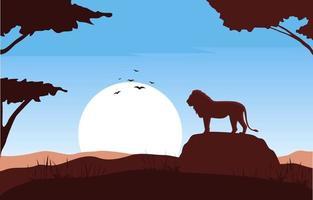 leone sulla roccia nell'illustrazione del paesaggio della savana africana vettore