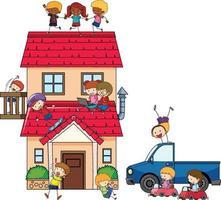 molti bambini fanno diverse attività in casa vettore