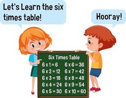 personaggio dei cartoni animati di due bambini che tengono la bandiera della tabella di sei volte vettore