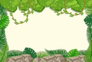 sfondo vuoto con elementi dell'albero della giungla vettore