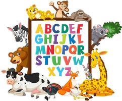 az bordo alfabeto con animali selvatici vettore