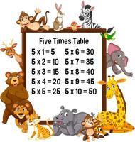 tabellina del cinque con animali selvatici vettore