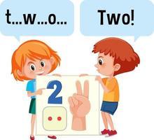 personaggio dei cartoni animati di due bambini che ortografano il numero due vettore