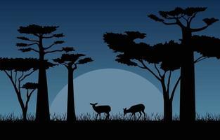 cervi nella savana africana di notte illustrazione vettore