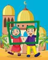 coppia musulmana in possesso di cornice per foto davanti alla moschea vettore