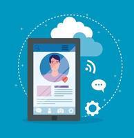 social media, uomo che comunica tramite dispositivo smartphone vettore