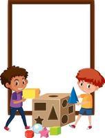 banner vuoto con due bambini che giocano con elementi di forma vettore