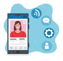 social media, donna che comunica tramite smartphone vettore