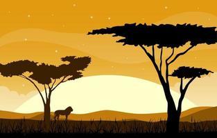 leone nel paesaggio della savana africana con illustrazione di alberi vettore