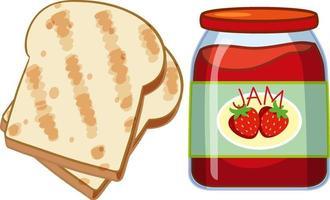 pane tostato e marmellata di fragole su sfondo bianco vettore