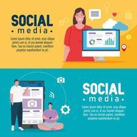 set di banner di social media vettore