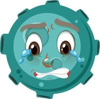 personaggio dei cartoni animati di asteroide con espressione del viso piangente su sfondo bianco vettore