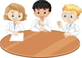 tre giovani scienziati che parlano tra di loro vettore