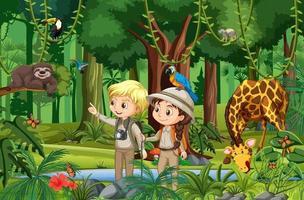 scena della foresta con bambini che guardano animali selvatici vettore