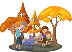 famiglia felice nel parco con molti alberi in autunno vettore