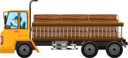 trattore con molti legni nel carrello vettore