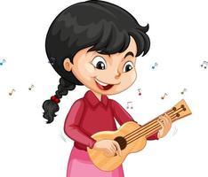 un personaggio dei cartoni animati di ragazza che suona l'ukulele vettore