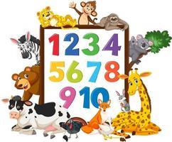 numero da 0 a 9 sul banner con animali selvatici vettore