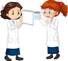 due giovani scienziati che parlano tra di loro vettore