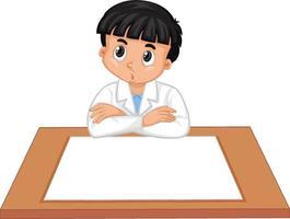 un ragazzo che indossa un abito da scienziato con carta vuota sul tavolo vettore