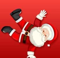 simpatico personaggio dei cartoni animati di Babbo Natale che balla su sfondo rosso vettore