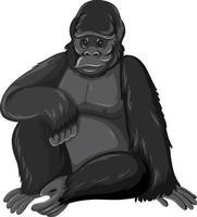 gorilla animale selvatico su sfondo bianco vettore