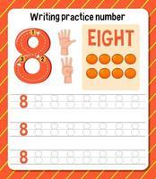 foglio di lavoro numero 8 di pratica di scrittura vettore