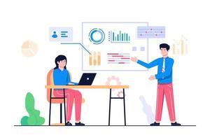 illustrazione di concetto di analisi dei dati aziendali vettore